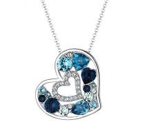 Damen-Kette mit Anhänger Herz Liebe 925 Silber Swarovski Kristall blau 45 cm