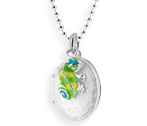 Heartbreaker Damen- Medaillon MyName zum aufklappen Silber eismatt mit lackiertem Chameleoneinhänger ohne Gravur LD MY 353 12