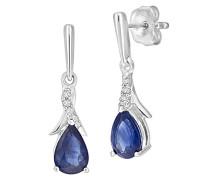 -  9 k (375)  Weißgold Rundschliff   blau Saphir Diamant