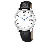 Herren Quarz-Uhr mit weißem Zifferblatt Analog-Anzeige und schwarz Lederband 10124/1