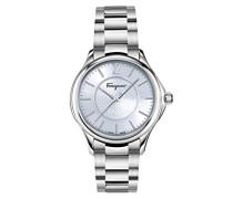 Salvatore Ferragamo Time Damen Quarzuhr mit Blau Zifferblatt und Edelstahl Armband FFV040016