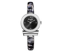 Salvatore Ferragamo Gancino Bracelet Damen Quarzuhr mit schwarzem Zifferblatt und Edelstahl Armband Armband mit Acetat-Einlage FII010015