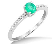 Damen Solitär-Ring, 9 Karat Weißgold, Smaragd - 54 (17.2)