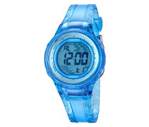 Damen-Armbanduhr Digital mit Blue Dial Digital Display und Blau Kunststoff Gurt k5688/1