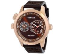 Sector Herren-Armbanduhr OVERSIZE 48MM Analog Quarz Leder R3251102022