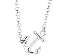 Damen Schmuck Halskette Kette mit Anhänger Anker Maritim Hanseatisch Hafen Silber 925 Länge 45 cm