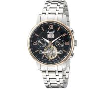 Ingersoll Automatik Herren Armbanduhr Automatik mit Schwarz Zifferblatt Chronograph-Anzeige und Silber Edelstahl Armband in6900rbkmb