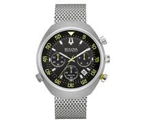 Bulova Accutron II Lobster 96b236 Quarzuhr mit schwarzem Zifferblatt und silbernem Armband aus Edelstahl, Herren