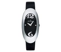 4414.1534Quarz Damen Schweizer Uhr mit schwarzem Zifferblatt Analog-Anzeige und schwarz Lederband