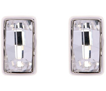 Halskette Silber rechteckige Luxe Kristall Ohrstecker Ohrringe