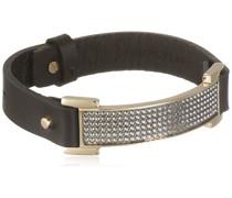 Damen-Armband Leder, schwarz, Kristall transparent 21.5 cm - 336898