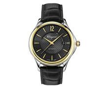 Salvatore Ferragamo Time Herren Automatikuhr mit schwarzem Zifferblatt und schwarzem Lederband FFT020016