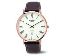 Boccia Herren-Armbanduhr Analog Quarz Leder 3589-06