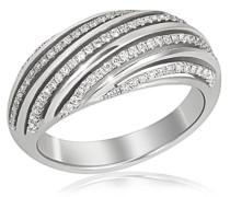 Damen-Ring Linien Exklusiv 585 Weißgold 95 Diamanten SI/H 0,48 ct.