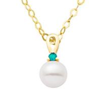 Damen Halskette 9 Karat (375) Gelbgold rhodiniert Smaragd