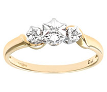 Damen-Ring 9 K Gelbgold P1 Diamant