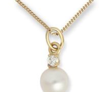 Miore Kinder-Halskette Perle und Brillant 585 Gelbgold 40cm MK048P