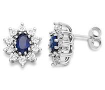 Ohrringe Damen, Schmuck 925 Sterling Silber, Ohrringe mit blau Saphir Edelstein und Zirkonia brilliantschliff Steinchen