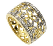 Diamonds by Ellen K. Damen-Ring 925 Sterlingsilber bicolor 40 Diamanten 0,216ct. Gr. 50 379270069-016