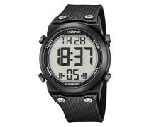 Unisex Armbanduhr Digitaluhr mit LCD Zifferblatt Digital Display und schwarz Kunststoff Gurt k5705/6