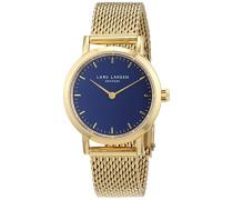 -Damen-Quarzuhr mit blauen Zifferblatt Analoganzeige und Gold-Edelstahl-Armband 124GDGM