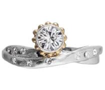 Damen-Ring versilbert+vergoldet kristall 532-005 größenverstellbar