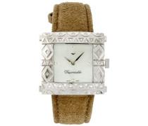 –fgzs1Damen-Armbanduhr–Quarz Analog–Armband Leder beige