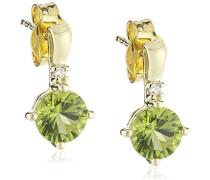 Damen-Ohrstecker 333 Gelbgold 2 Peridots hellgrün 2 Diamanten Ohrringe Brillanten Schmuck