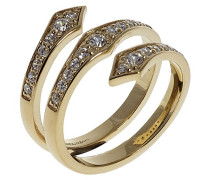 Sterling Silber Gold Triple Spear Schlange Ring–Der Größe M