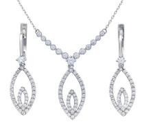 Damen-Halskette 925 Sterlingsilber Diamanten 46cm Marquiseschliff