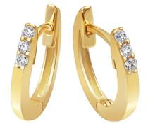 Damen-Creolen Ohrringe Memoire 585 Gelbgold 6 Diamanten 0.10 ct. Brillianten-Schmuck