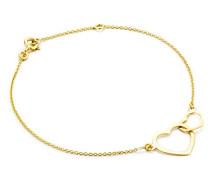 Damen-Armband Doppelt Herz Anhänger 375 Gelbgold 18 cm - MGM906B