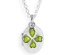 Heartbreaker Damen- Medaillon MyName zum aufklappen Silber eismatt mit lackiertem Kleeblatteinhänger ohne Gravur LD MY 353 10