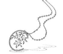 Goldmaid Damen-Collier Bay Leaves 925 Sterlingsilber 15 weiße Zirkonia