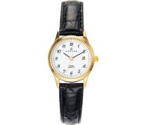 646459 Damen-Armbanduhr, Quarz, Analog, Zifferblatt weiß, schwarzes Lederarmband