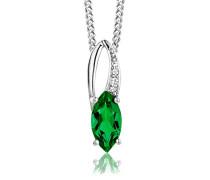 Damen-Kette Mit Anhänger 925 Sterling- Silber Marquiseschliff Grün Smaragd 45cm