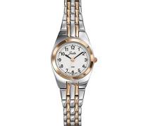 –642404Damen-Armbanduhr 045J699Analog weiß Armband Metall Zweifarbig