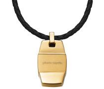 Unisex-Halsband Edelstahl rhodiniert Leder Pour Honorer S.PCNL10007D450