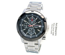 Seiko–SKS427P1–Herren Armbanduhr–Quarz-Chronograph–schwarzes Zifferblatt–graues Stahl-Uhrband
