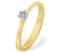 Damen-Ring Diamant Solitär 6er-Stotzen 585 Bicolor Gold 1 Brillant 0,20 ct. Gr. 52 So R3988GW52 Verlobungsring  Diamantring