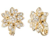 eingeclipt Blumen Knopf gold und Kristall Ohrringe