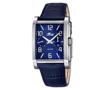 Herren Armbanduhr mit Blau Zifferblatt Analog Display und Blau Lederband 18221/2