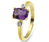 Damen-Ring 9 Karat 375 Gelbgold 1 Amethyst 2 Diamanten 0,02 ct.