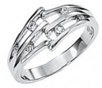 Damen-D22058Z52-zeitloser Damen-Ring Sterling-Silber 925/1000 Zirkonia Weiß 3 g, Größe 52