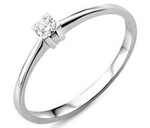 18 Karat (750) Weigold 52 (16.6) Damenring, mit 1 (0,07 cts) Diamant M0599WM