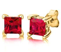 Damen-Ohrstecker 925 Sterling- Silber Prinzess Rot Synthetischer Rubin