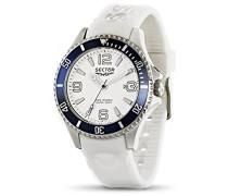 Herren Armbanduhr mit weißem Zifferblatt Analog-Anzeige und Weiß PU Gurt r3251161006