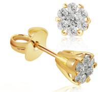 Damen-Ohrstecker Glamour Bicolor 585 Gold 14 Diamanten 0,34 ct. Pa O5138BI Ohrringe Brillanten Schmuck