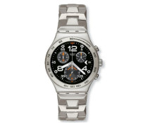 Swatch Herren-Armbanduhr XL Analog Quarz Edelstahl YCS482G