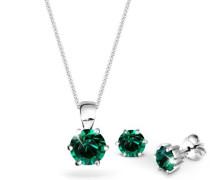 Damen-Schmuckset Grün 925 Sterling Silber mit Kristallen von Swarovski Länge 45cm 09000052_45
